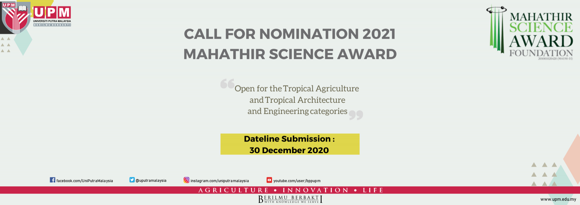 CALL FOR NOMINATION 2021 MAHATHIR SCIENCE AWARD